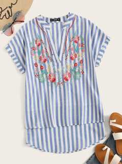 V Neck Flower Embroidered Striped Top