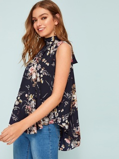 Botanical Print Tie Back Dip Hem Swing Top