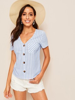 Striped Print Button Front Pocket Patch Top