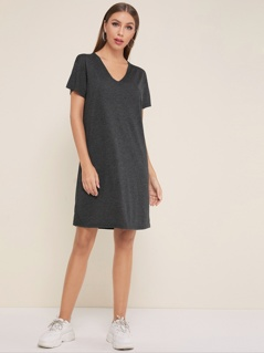 V-neck Heathered Knit Dress