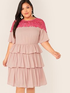 Plus Contrast Guipure Lace Yoke Layered Hem Dress
