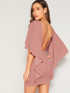 Asymmetrical Flounce Sleeve Backless Pencil Dress
