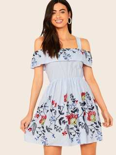 Cold Shoulder Ruffle Trim Embroidery Detail Flare Dress