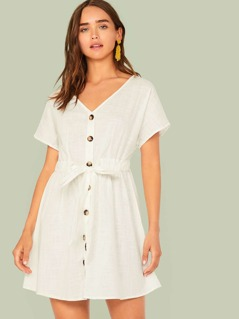 V-neck Button Front Belted Dress