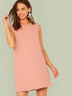Solid Pocket Patched Tunic Dress