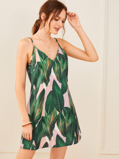 Jungle Leaf Print Slip Dress