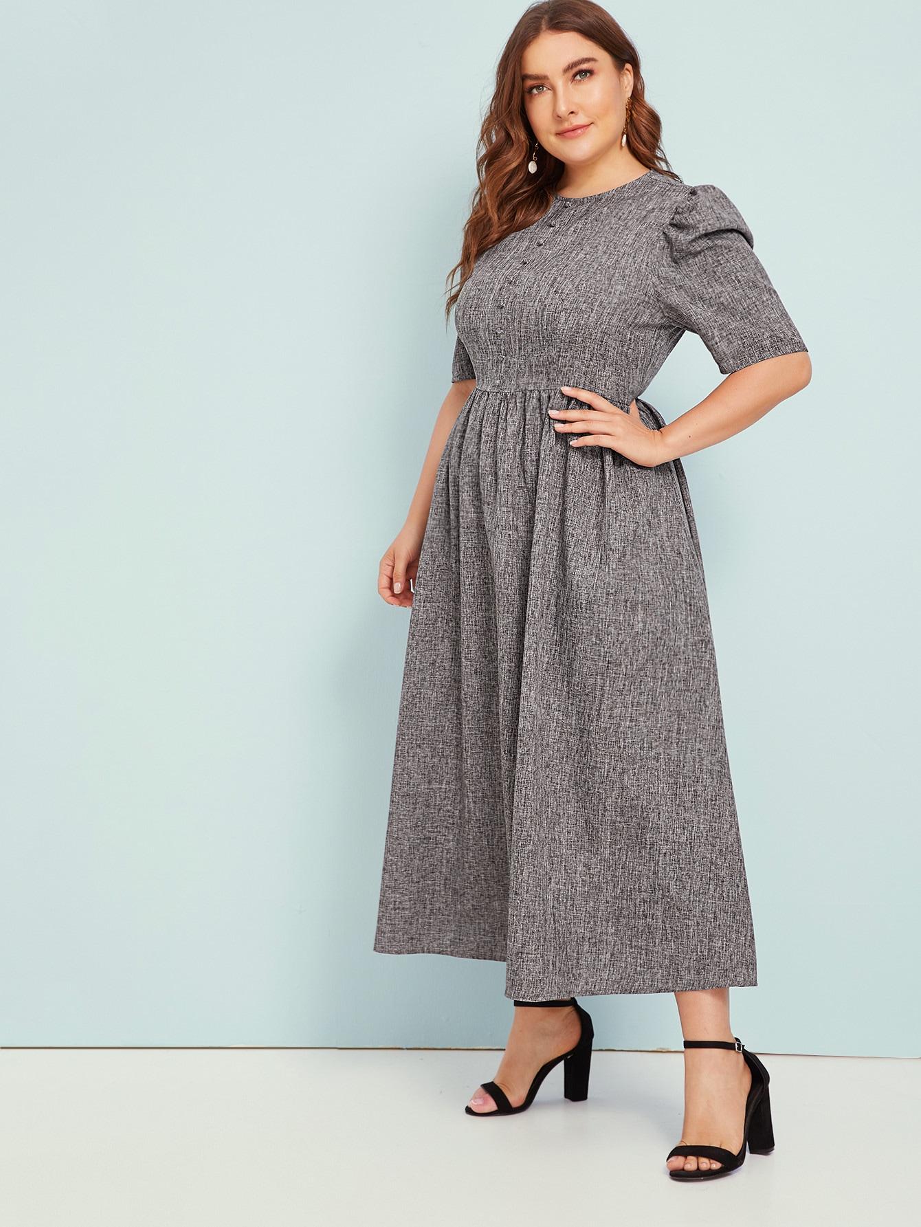 Расклешенное платье с оригинальным рукавом и пуговицами размера плюс