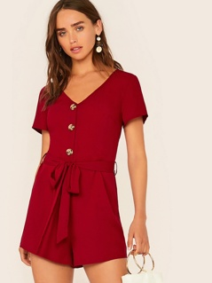 Button Front Belted Solid Romper
