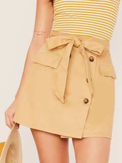Double Breasted Knot Front Skirt