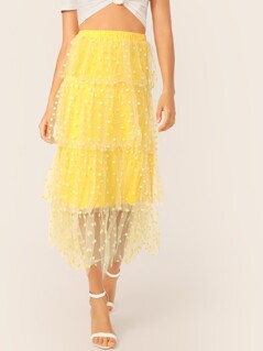 Neon Yellow Dot Mesh Overlay Skirt