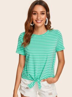 Knot Hem Striped Tee