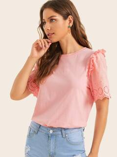 Ruffle Trim Eyelet Embroidery Sleeve Top