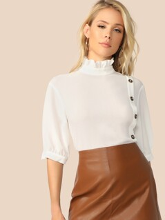 Frill Neck Button Front Top