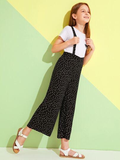 SheIn / Girls Polka Dot High Waist Wide Leg Pinafore Pants