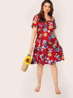 Plus Square Neck Floral Print Dress