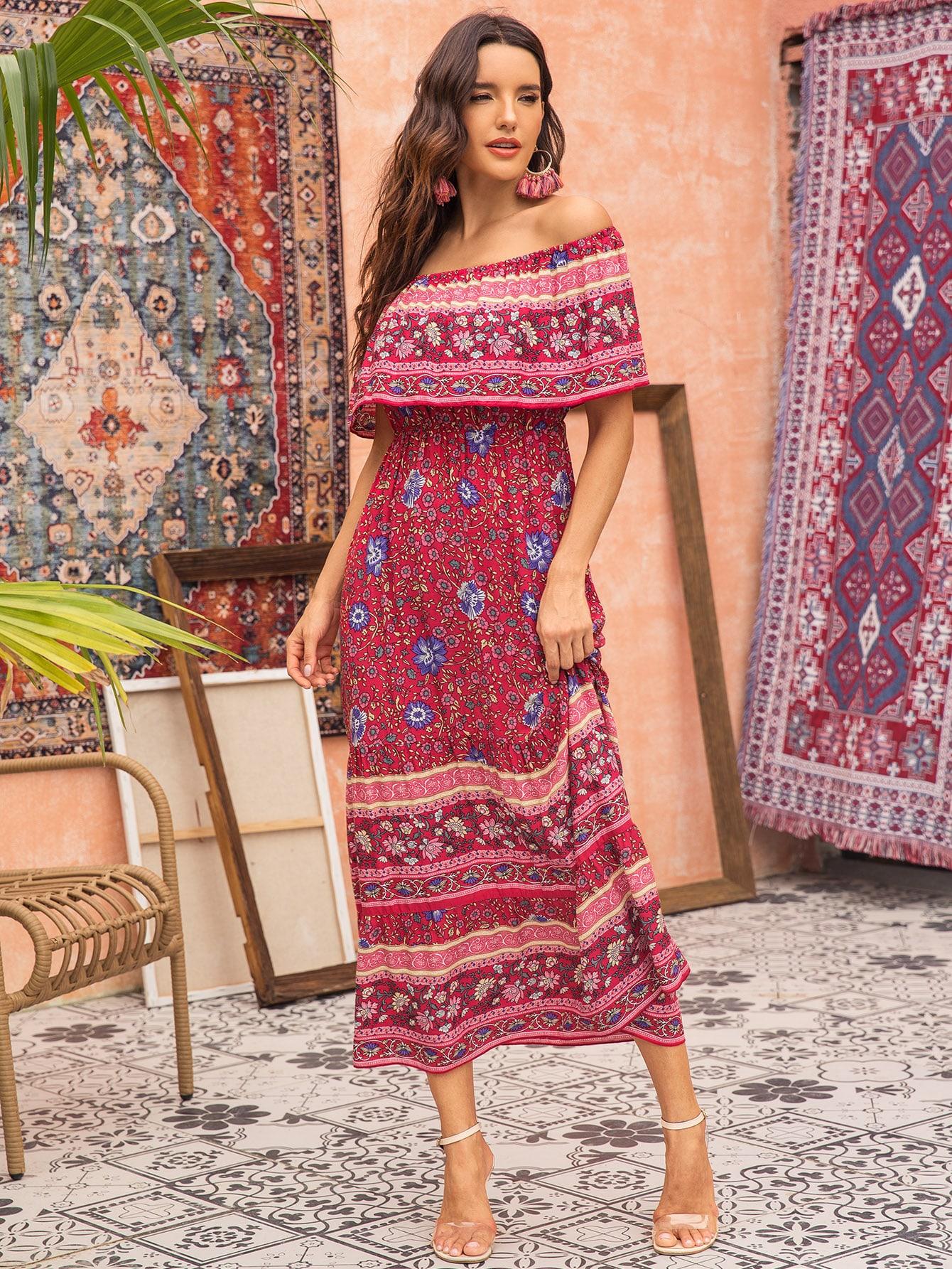 Фото - Цветочное длинное платье с открытыми плечами от SheIn цвет многоцветный