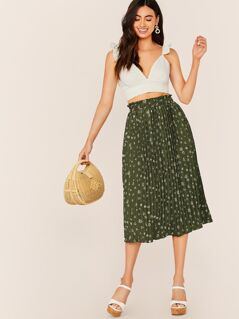 Elastic Waist Pleated Floral Midi Skirt