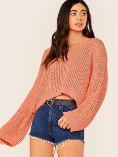 V-Neck Drop Shoulder Oversized Knit Sweater