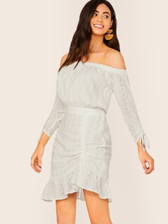 Off Shoulder Embroidered Eyelet Peasant Dress