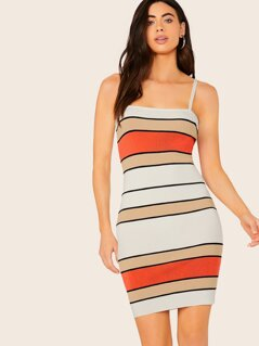 Square Neck Sleeveless Stripe Bodycon Dress