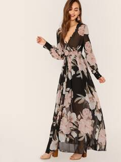 Surplice Long Sleeve Waist Tie Floral Maxi Dress