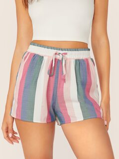 Elastic Drawstring Waist Stripe Shorts
