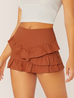 Tiered Ruffle Side Zip Skort Shorts