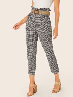 Belted Paperbag Waist Gingham Plaid Skinny Pants