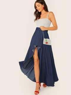 Elastic Waist Tulle Lining High Low Denim Skirt