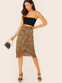 Side Tie Leopard Midi Wrap Skirt