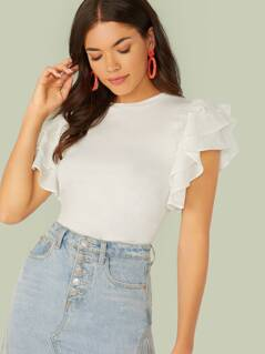 Crew Neck Tiered Ruffle Short Sleeve T-Shirt