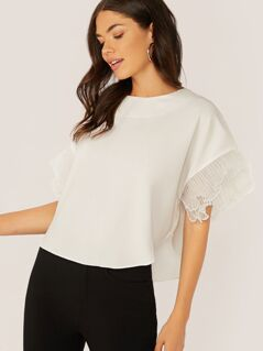 Crew Neck Pleated Ruffle Organza Sleeve Blouse