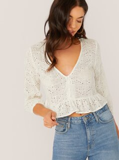 V-Neck Button Front Embroidered Eyelet Blouse