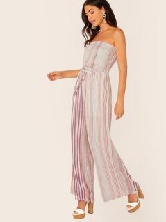 Drawstring Waist Strapless Stripe Jumpsuit