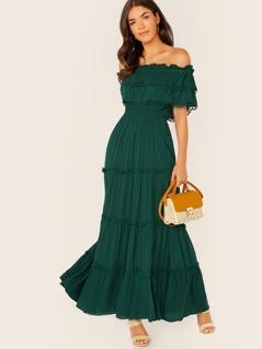 Off Shoulder Ruffle Lace Trim Maxi Dress
