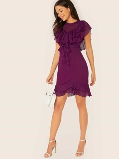 Mock Neck Ruffle Yoke Sleeveless Waist Tie Dress