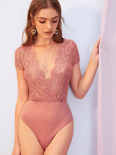 Plunging Neck Sheer Guipure Lace Wrap Bodysuit