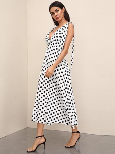 SheIn / Polka-dot Print Deep V Neck Dress