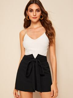 Self Tie Notch Waist Tailored Shorts