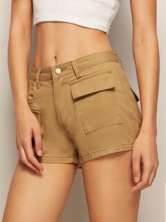 Solid Pocket Patch Denim Shorts