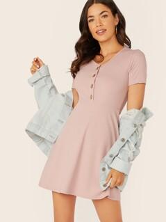 Button Front Rib-knit A-line Dress
