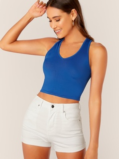 Solid Form Fitted Crop Tank Top