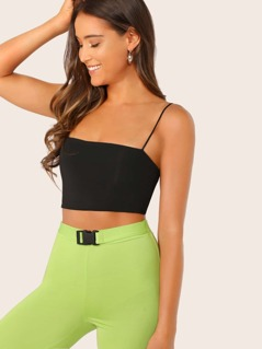 Solid Slim Crop Cami Top