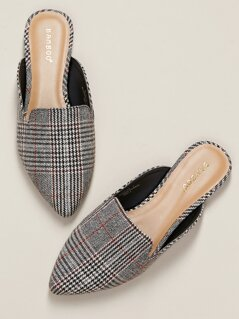 Houndstooth Almond Toe Open Heel Loafer Flats