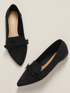 Bow Accent Pointed Toe Ballet Flats