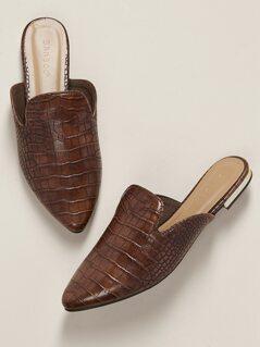 Croc Embossed Almond Toe Flat Mules