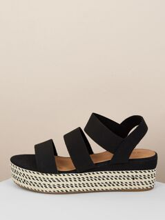 Strappy Woven Straw Flatform Sandals