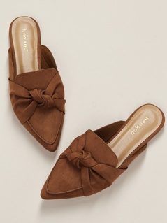 Twist Front Pointy Toe Flat Slide Mules