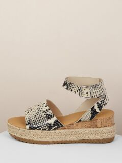 Snakeskin Buckled Ankle Flatform Sandals