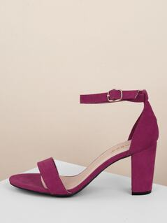 Buckled Ankle Strap Block Heel Sandals